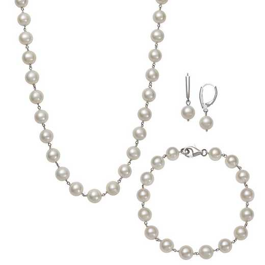 QSET-10327-BF: STERLING SILVER 7-8MM PEARL NECKLACE- BRACELET EARRINGS SET