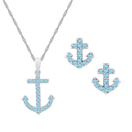 SJ105291ZAW BT: W  SS BSTONE ANCHOR SET PEND