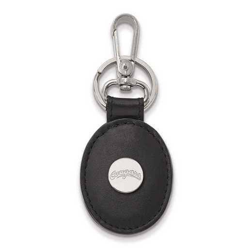 SS037WAS-K1: SS LogoArt Washington State Black Leather Oval Key Chain
