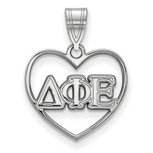SS008DPH: Sterling Silver LogoArt Delta Phi Epsilon Heart Pendant