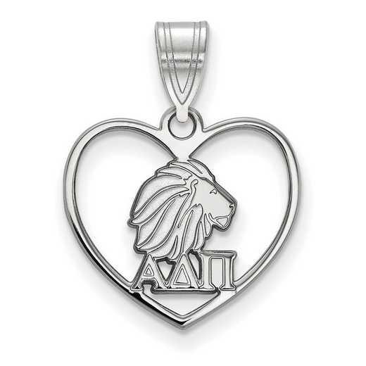 SS040ADP: Sterling Silver LogoArt Alpha Delta Pi Heart Pendant