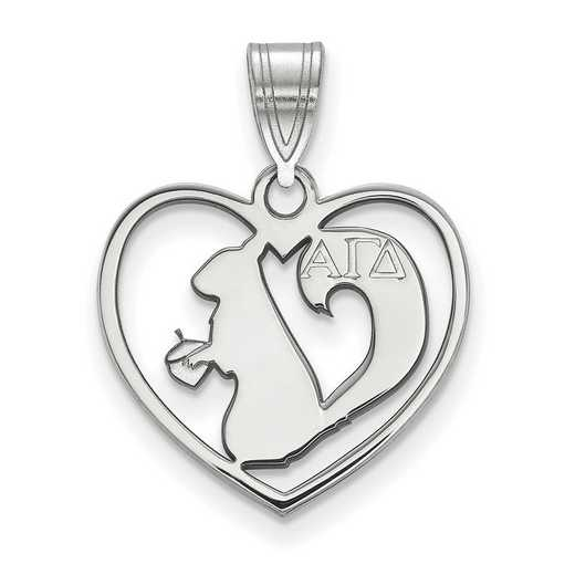 SS040AGD: Sterling Silver LogoArt Alpha Gamma Delta Heart Pendant