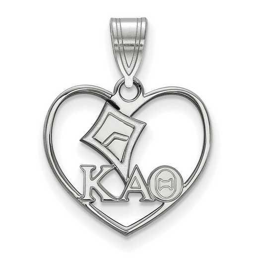 SS040KAT: Sterling Silver LogoArt Kappa Alpha Theta Heart Pendant