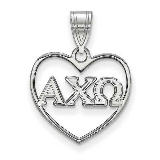 SS008ACO: Sterling Silver LogoArt Alpha Chi Omega Heart Pendant