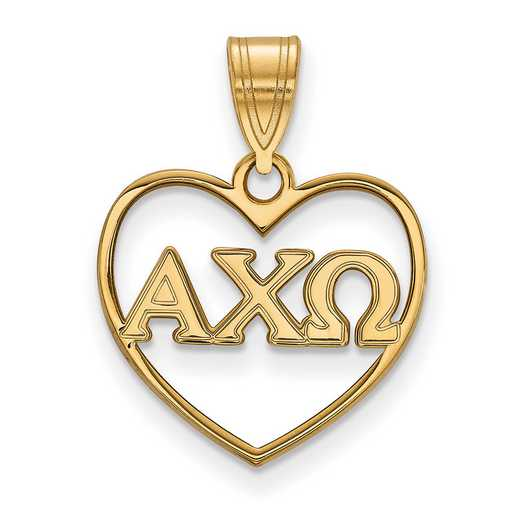 GP008ACO: Sterling Silver w/GP LogoArt Alpha Chi Omega Heart Pendant