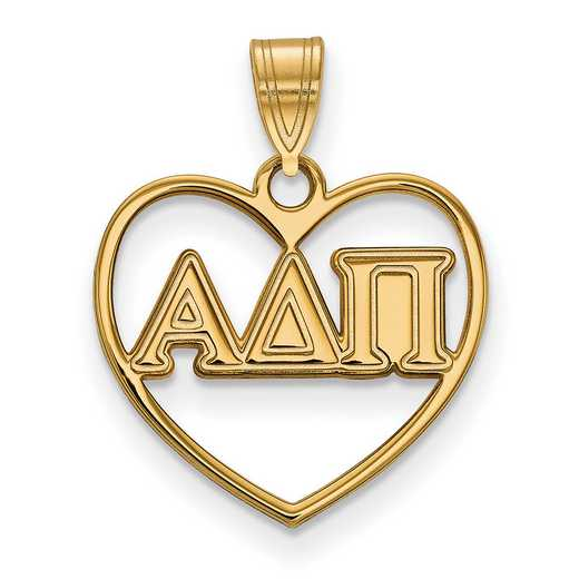 GP008ADP: Sterling Silver w/GP LogoArt Alpha Delta Pi Heart Pendant