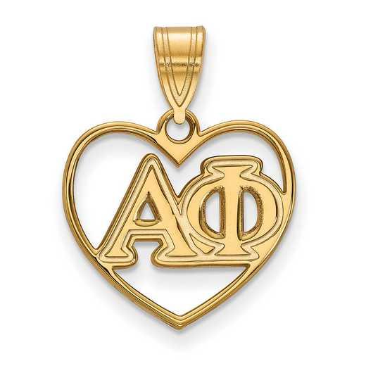 GP008APH: Sterling Silver w/GP LogoArt Alpha Phi Heart Pendant