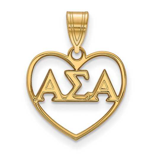 GP008ASI: Sterling Silver w/GP LogoArt Alpha Sigma Alpha Heart Pendant