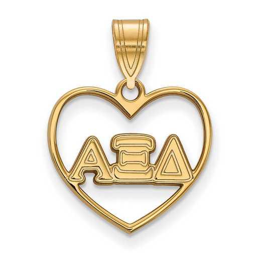 GP008AXD: Sterling Silver w/GP LogoArt Alpha Xi Delta Heart Pendant