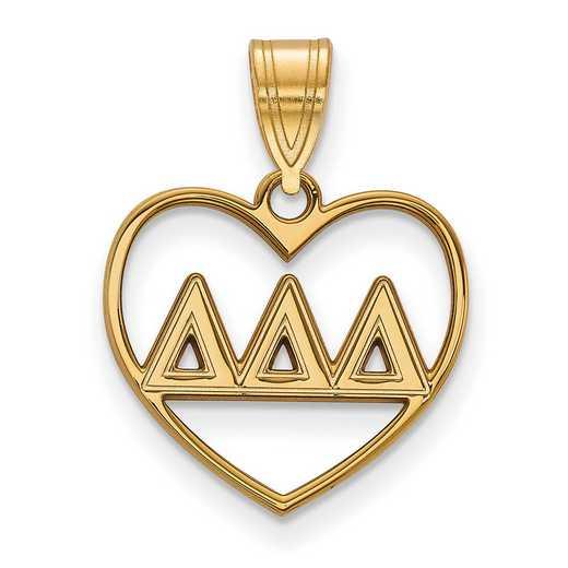 GP008DDD: Sterling Silver w/GP LogoArt Delta Delta Delta Heart Pendant