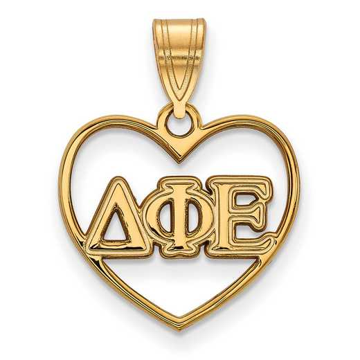 GP008DPH: Sterling Silver w/GP LogoArt Delta Phi Epsilon Heart Pendant