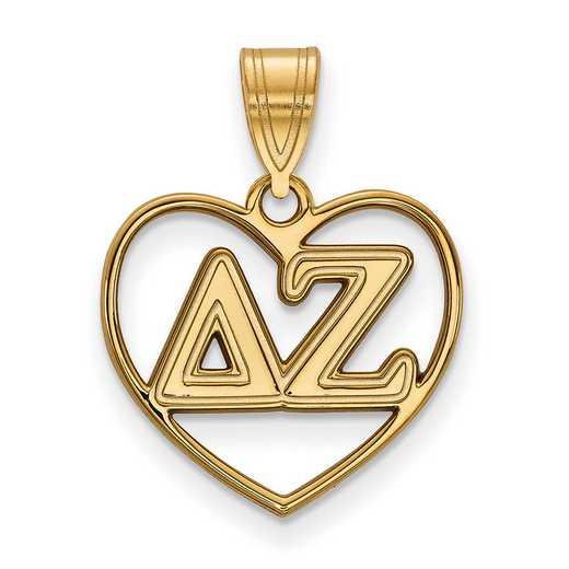 GP008DZ: Sterling Silver w/GP LogoArt Delta Zeta Heart Pendant