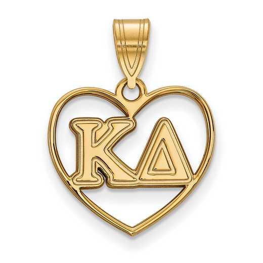 GP008KD: Sterling Silver w/GP LogoArt Kappa Delta Heart Pendant