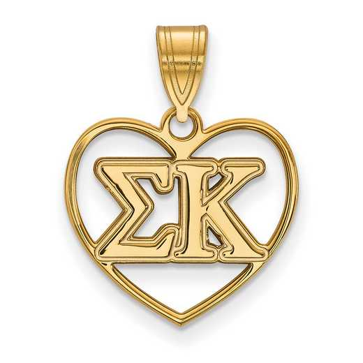 GP008SKP: Sterling Silver w/GP LogoArt Sigma Kappa Heart Pendant