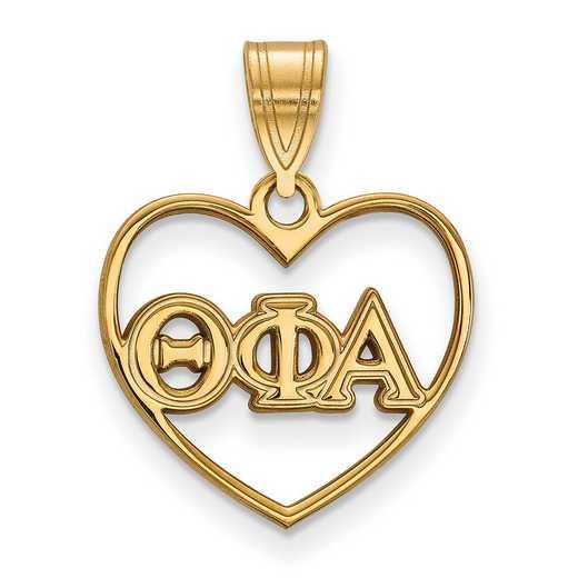 GP008TPA: Sterling Silver w/GP LogoArt Theta Phi Alpha Heart Pendant