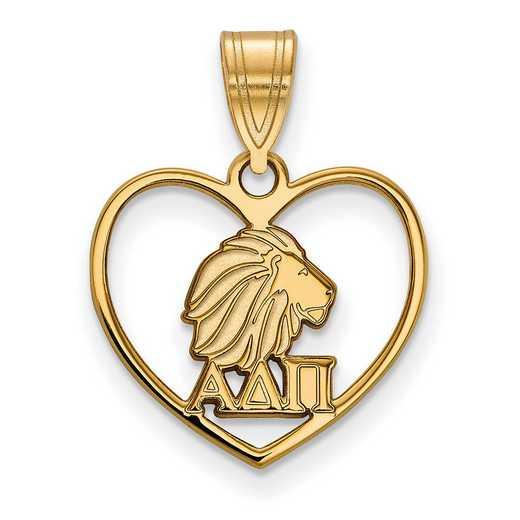GP040ADP: Sterling Silver w/GP LogoArt Alpha Delta Pi Heart Pendant
