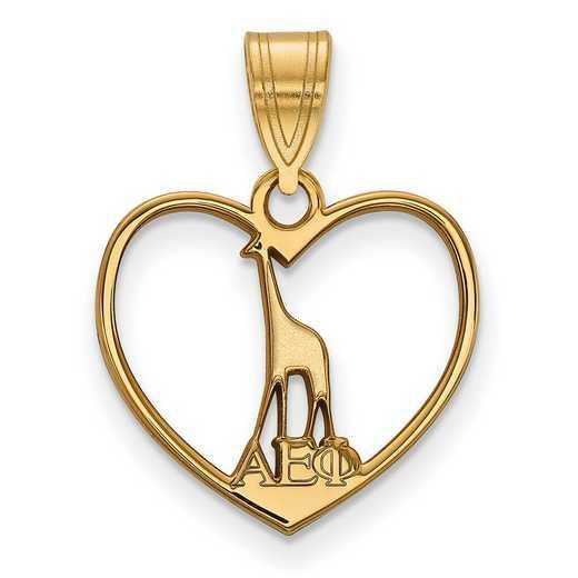GP040AEP: Sterling Silver w/GP LogoArt Alpha Epsilon Phi Heart Pendant