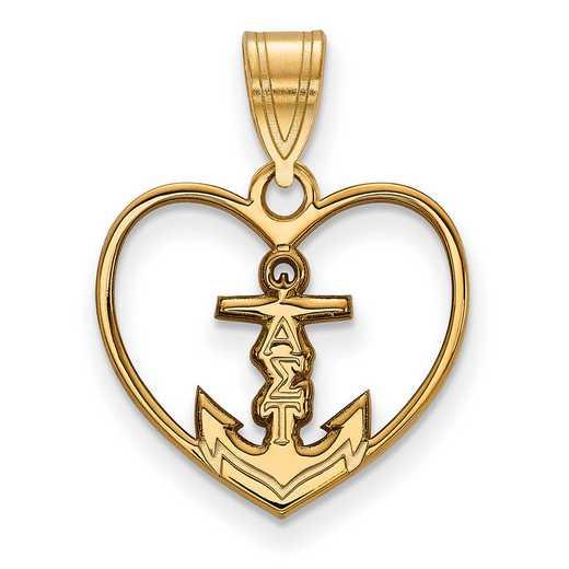 GP040ALS: Sterling Silver w/GP LogoArt Alpha Sigma Tau Heart Pendant