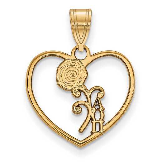 GP040AOP: Sterling Silver w/GP LogoArt Alpha Omicron Pi Heart Pendant