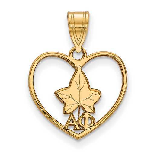 GP040APH: Sterling Silver w/GP LogoArt Alpha Phi Heart Pendant