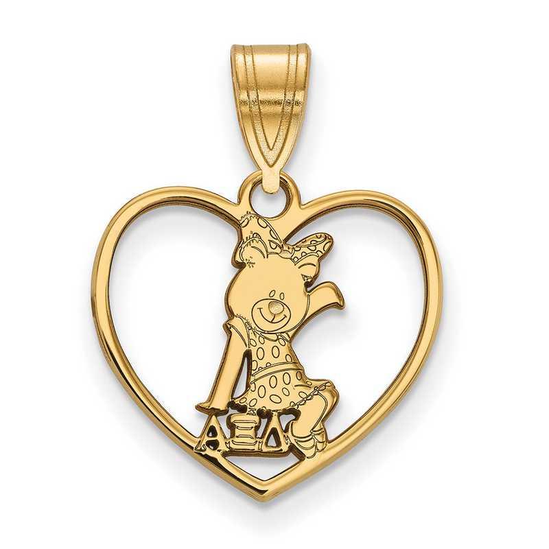 GP040AXD: Sterling Silver w/GP LogoArt Alpha Xi Delta Heart Pendant