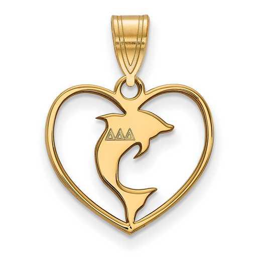 GP040DDD: Sterling Silver w/GP LogoArt Delta Delta Delta Heart Pendant