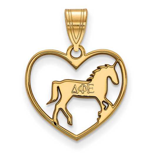 GP040DPH: Sterling Silver w/GP LogoArt Delta Phi Epsilon Heart Pendant