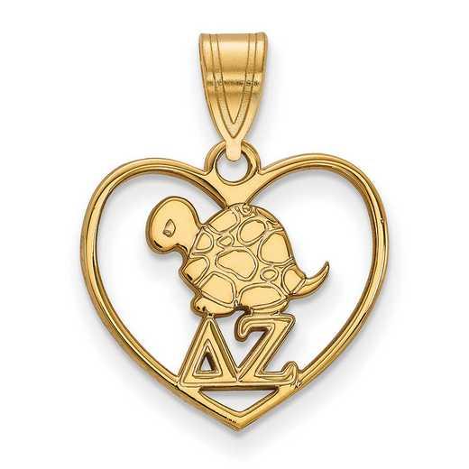 GP040DZ: Sterling Silver w/GP LogoArt Delta Zeta Heart Pendant