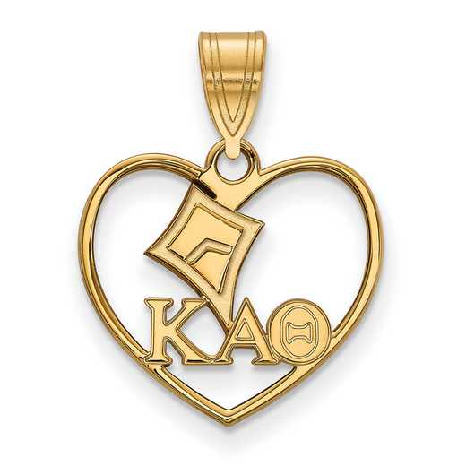 GP040KAT: Sterling Silver w/GP LogoArt Kappa Alpha Theta Heart Pendant