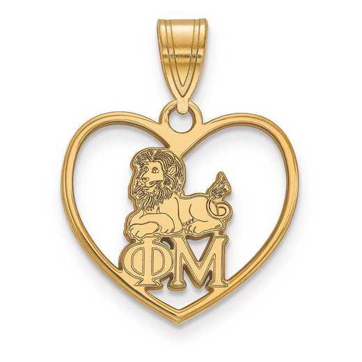 GP040PHM: Sterling Silver w/GP LogoArt Phi Mu Heart Pendant