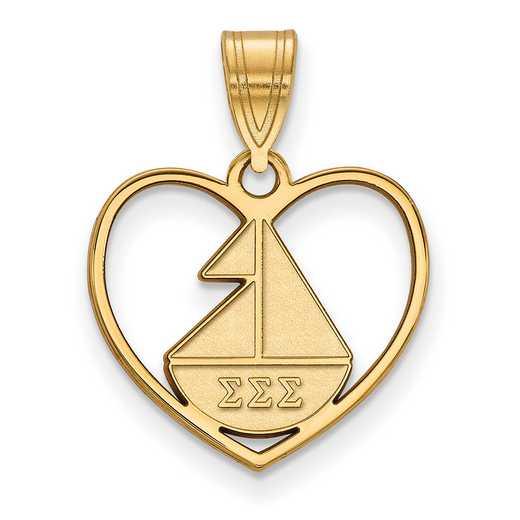 GP040SSS: Sterling Silver w/GP LogoArt Sigma Sigma Sigma Heart Pendant