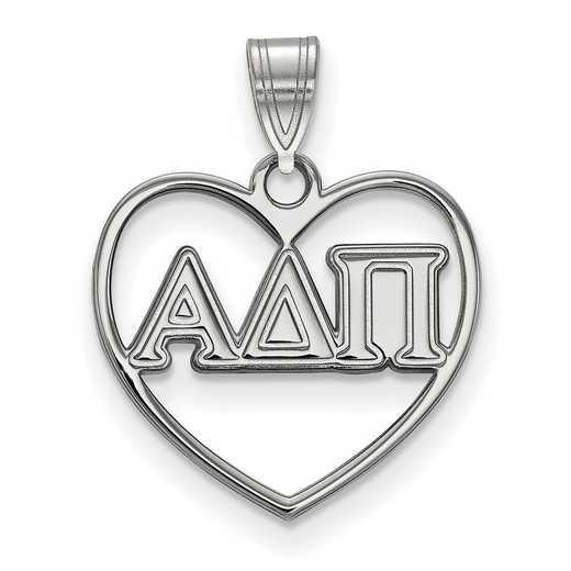 SS008ADP: Sterling Silver LogoArt Alpha Delta Pi Heart Pendant
