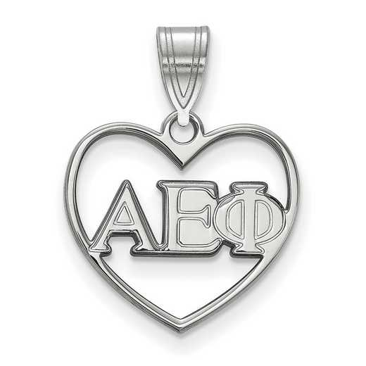 SS008AEP: Sterling Silver LogoArt Alpha Epsilon Phi Heart Pendant