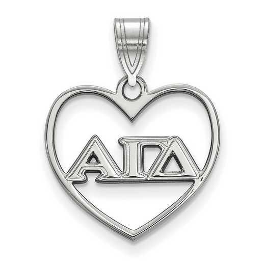 SS008AGD: Sterling Silver LogoArt Alpha Gamma Delta Heart Pendant