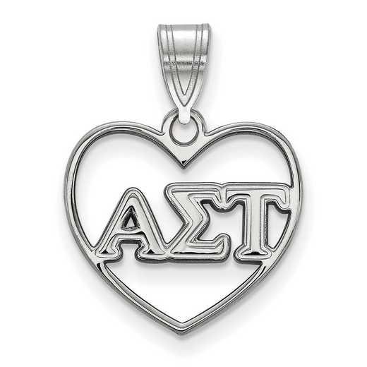 SS008ALS: Sterling Silver LogoArt Alpha Sigma Tau Heart Pendant