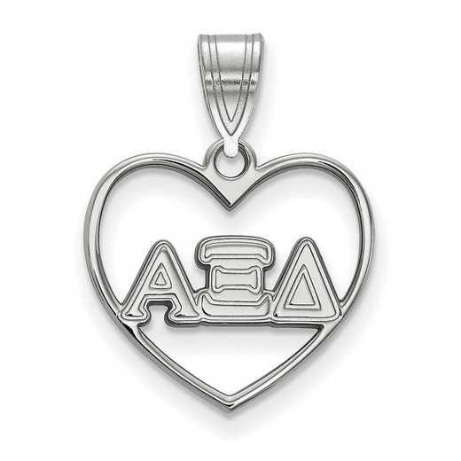SS008AXD: Sterling Silver LogoArt Alpha Xi Delta Heart Pendant