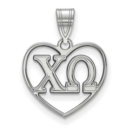SS008CHO: Sterling Silver LogoArt Chi Omega Heart Pendant