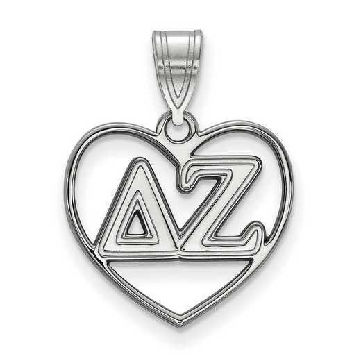 SS008DZ: Sterling Silver LogoArt Delta Zeta Heart Pendant