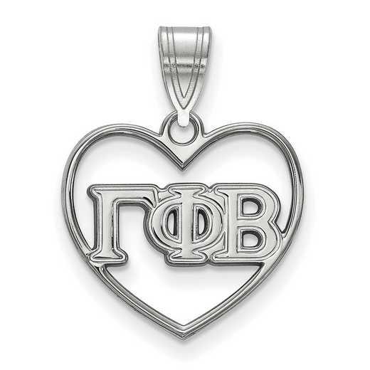 SS008GPB: Sterling Silver LogoArt Gamma Phi Beta Heart Pendant