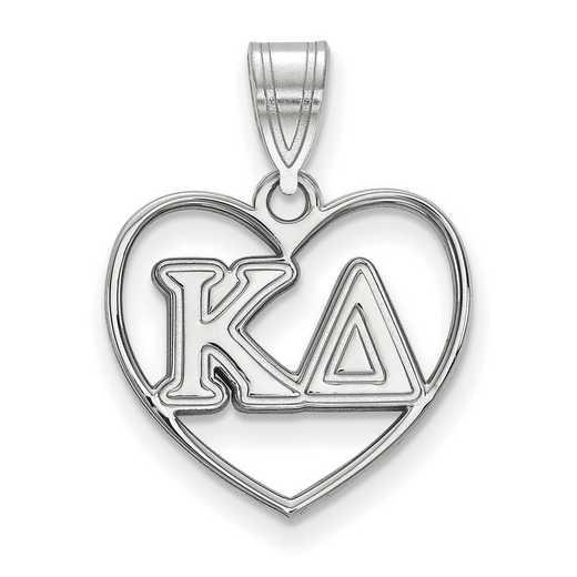 SS008KD: Sterling Silver LogoArt Kappa Delta Heart Pendant