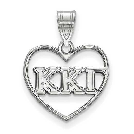 SS008KKG: Sterling Silver LogoArt Kappa Kappa Gamma Heart Pendant