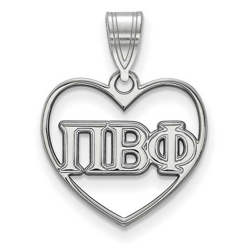 SS008PBP: Sterling Silver LogoArt Pi Beta Phi Heart Pendant