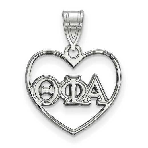 SS008TPA: Sterling Silver LogoArt Theta Phi Alpha Heart Pendant