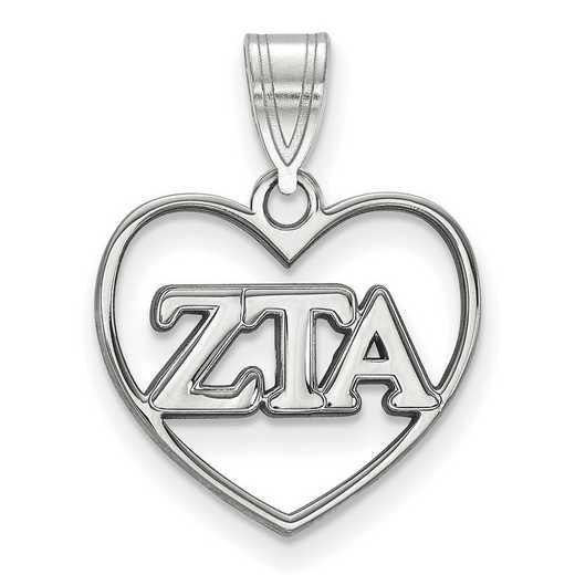SS008ZTA: Sterling Silver LogoArt Zeta Tau Alpha Heart Pendant