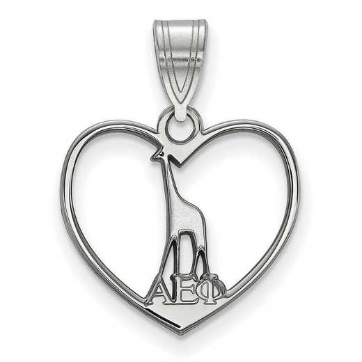 SS040AEP: Sterling Silver LogoArt Alpha Epsilon Phi Heart Pendant
