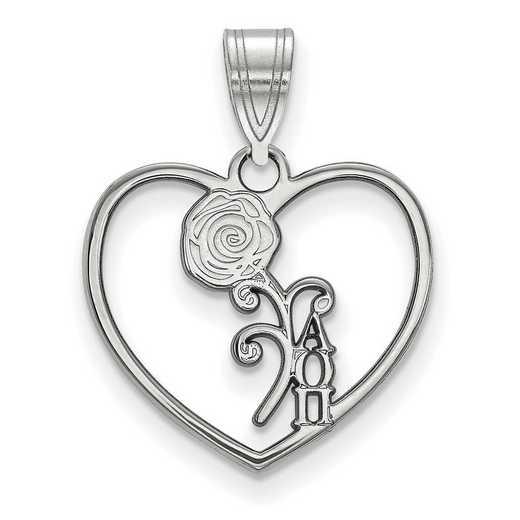 SS040AOP: Sterling Silver LogoArt Alpha Omicron Pi Heart Pendant