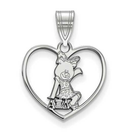 SS040AXD: Sterling Silver LogoArt Alpha Xi Delta Heart Pendant