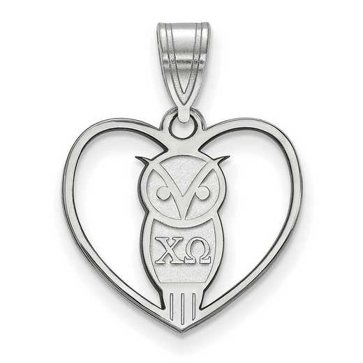 SS040CHO: Sterling Silver LogoArt Chi Omega Heart Pendant