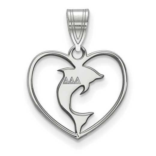 SS040DDD: Sterling Silver LogoArt Delta Delta Delta Heart Pendant