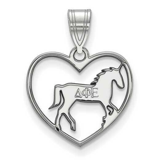SS040DPH: Sterling Silver LogoArt Delta Phi Epsilon Heart Pendant
